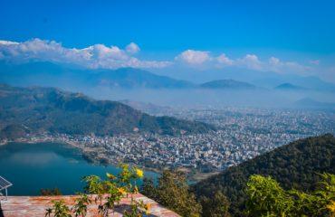 view of Phewa lake and Pokhara city from World peace pagoda hill
